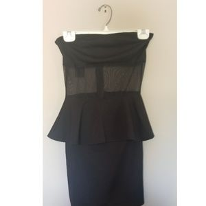 Dresses & Skirts - Peplum Dress with mesh inset